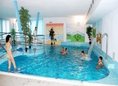 Swimming pool in Spa house Erika-water temperature of 30°C. The pool is equipped with whirlpool-massage- and against–jet–programme massage
